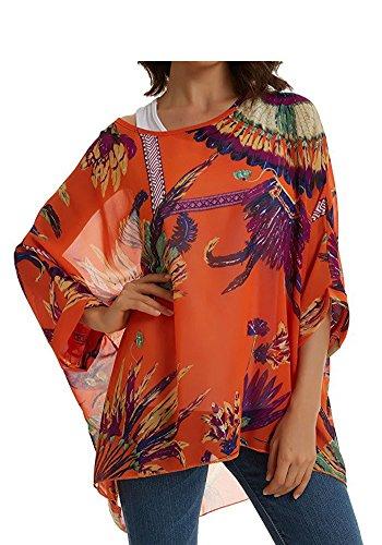 Rokou Women Chiffon Blouse Floral Batwing Sleeve Beach Loose Tunic Shirt Tops (Color14) - Orange Floral Tunic