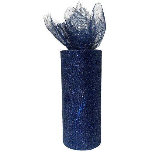 Just Artifacts Glitter Tulle Fabric Roll 25yrd Length x 6in Width (Color: Navy) -