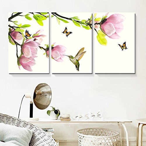 3 Panel Pink Magnolia Flowers with Birds and Butterflies x 3 Panels