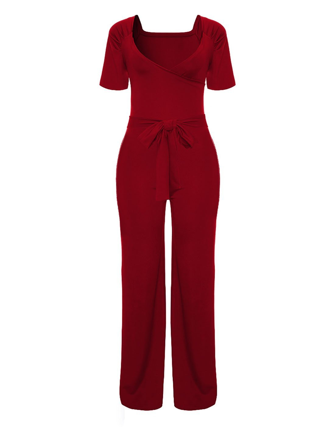 Tiaoqi Women's Wide Leg Jumpsuits Solid Color Sexy V Neck Wide Leg Long Pants Rompers Belt (Wine red, S)