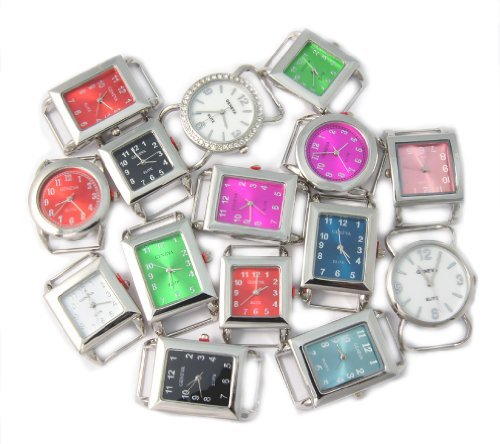 Watch Face Ribbon Geneva - Ribbon Bar Watch Faces for Beading, 10 PCs Assorted