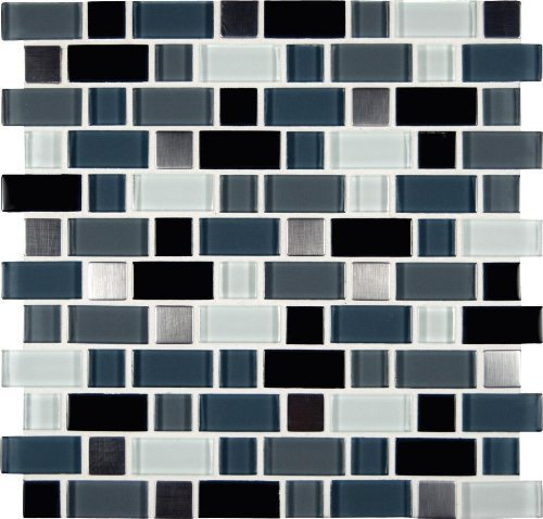 MS International Crystal Cove 12 in. x 12 in. Glass Blend Mesh-Mounted Mosaic Tile - BOX OF 5 TILES by Marble 'n things - Glass Mosaic Blends