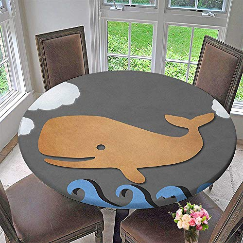 Like Paper Banquet Table Covers - Mikihome Circular Table Cover Whale Wooden Paper Like Designed Whale on Air with Paper Based Whale for Wedding/Banquet 40
