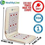 Natural Infrared Heating Pad - Relieve Pain, Sore Muscles & Injury Recovery (European 220 Voltage) - (Firm) 40″ x 18″ - PEMF - Photon Red Light - Amethyst, Jade & Tourmaline Ceramic Stone