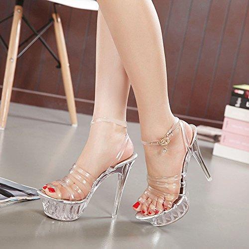 ZHIRONG Plataforma impermeable de mujer tacones altos punta abierta  transparente talón fino sandalias de Roma zapatos ... c5d5bd91d507