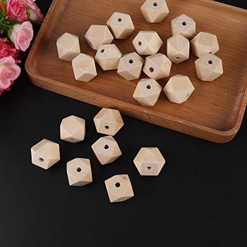 50x DIY Unpainted Natural Unfinished Wood Bead Geometric Wooden Spacer Bead ()