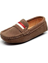 Children's Boy's Slip On Comfort Braid Moccasins Suede Leather Loafers Shoes/Flats