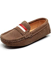 Shenn Children's Boy's Slip On Comfort Braid Moccasins Suede Leather Loafers Shoes/Flats