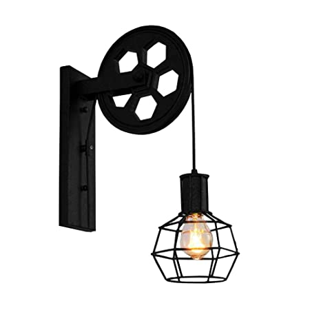 brand new 6507a b4c1f BAYCHEER HL471082 1 Light Wall Sconce Keyed Socket Pulley LED Industrial  Wall Sconces Retro Wall Lights Fixture for Indoor Lighting Barn Restaurant  in ...
