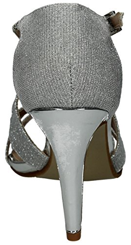 Anita Damen Silber Shimmer Glitzer Metallic Heels Stiletto Party Schuhe Damen Schuhe–SwankySwans