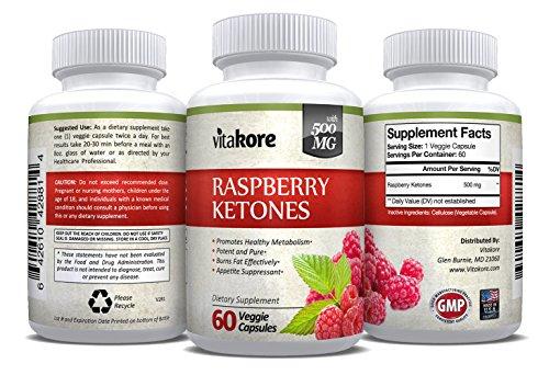 Vitakore Raspberry Ketones Plus 500 mg Best Weight Loss Pills 60 Count Veggie Caps by Vitakore