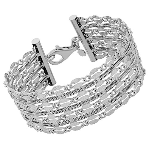 Sterling Silver 26mm Diamond-Cut Flat Link And Square Snake Chain Bracelet (7.5 inch)