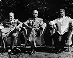 Potsdam Conference, 1945. /Nallied Leaders At The Potsdam Conference In Germany, July 1945. From Left: British Prime Minister Winston Churchill, U.S. President Harry Truman, And Soviet Premier Joseph Stalin. is a licensed reproduction that wa...