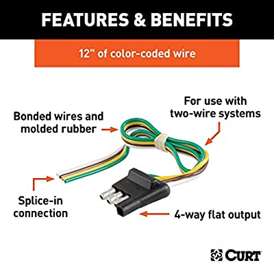 CURT 58031 Trailer-Side 4-Way  Trailer Wiring Harness with 12-Inch Wires, 4-Pin  Trailer Wiring: Automotive