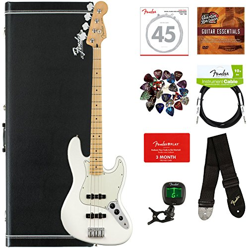 Fender Player Jazz Bass, Maple - Polar White Bundle with Hard Case, Cable, Tuner, Strap, Strings, Picks, Fender Play Online Lessons, and Austin Bazaar Instructional DVD