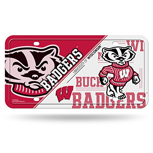 (NCAA Wisconsin Badgers Metal License Plate Tag)