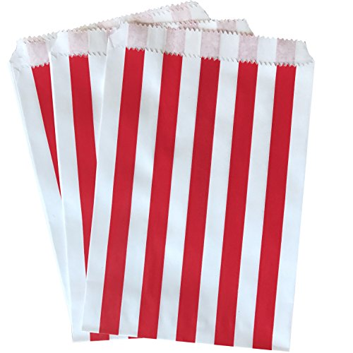 White Treats (Treat Sacks - Favor Bag - Red and White Stripe - 5.5 x 7.5 - 48 Pack)