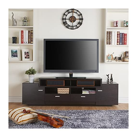 Furniture of America Braswell Wooden 72-inch TV Stand in Cappuccino - Finish: Cappuccino Materials: Wood, Veneers Sturdy wood frame for lasting quality - tv-stands, living-room-furniture, living-room - 5179d80q2BL. SS570  -