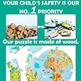 iPlay, iLearn Kids Wooden World Map Jigsaw Puzzles, Jumbo Round Floor Puzzle w/ Continents Oceans N Animals, Geography Learning Toy, Gift for 3, 4, 5, 6 Years Old Boys Girls Toddlers Children