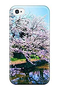 Excellent Design Cherry Blossom Trees Phone Case For Iphone 4/4s Premium Tpu Case