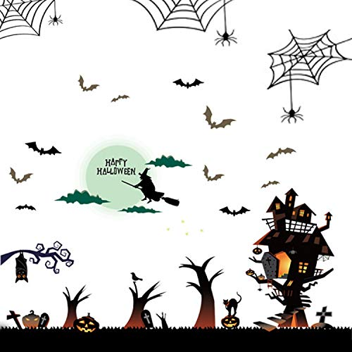 Eichzhushp Happy Halloween Pumpkins Spooky Cemetery Witch and Bats Tomb Wall Decals Window Stickers Halloween Decorations for Kids Rooms Nursery Halloween Party (Type 1)