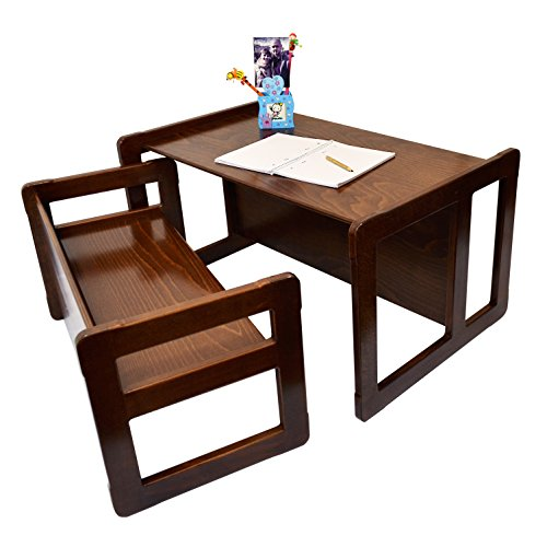 3 in 1 Childrens Multifunctional Furniture Set of 2, One Small Bench or Table and One Large Bench or Table Beech Wood, Dark Stained by Obique Ltd