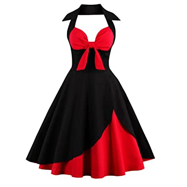 KeKeD23921 Summer Dress Halter Patchwork Vintage Dress Plus Size Party Casual Dress Feminino Rockabilly Plus Size Vestidos at Amazon Womens Clothing store: