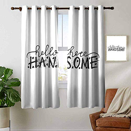 petpany Bedroom Curtain Hello,Hello There Handsome Typographic Text with Doodle Stars for Baby Boys Kids Birthday,Black White,Insulating Room Darkening Blackout Drapes 42