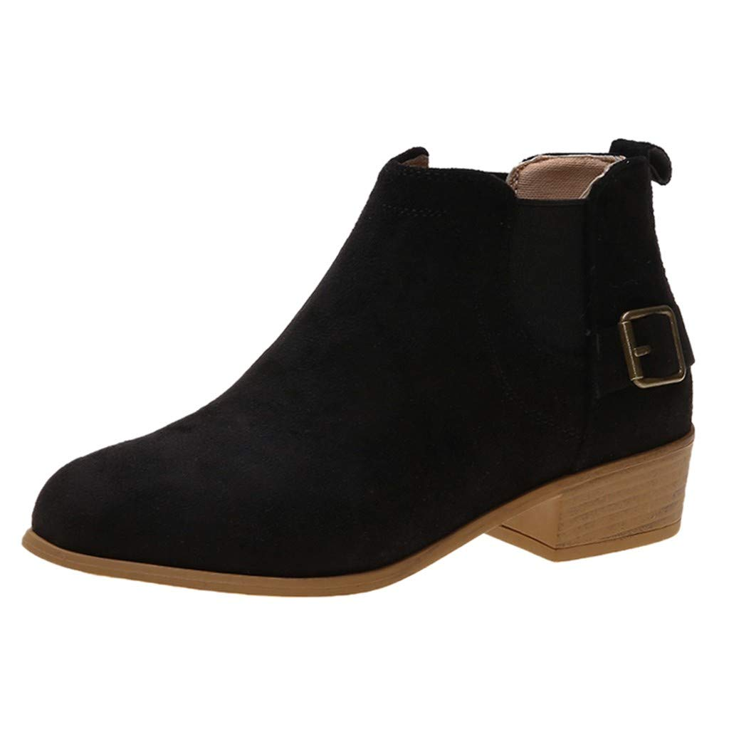 LATINDAY ◕‿◕ Women's Wide Width Ankle Boots - Mid Chunky Block Heels Round Toe Booties Black by LATINDAY ➜ Shoes Accessory