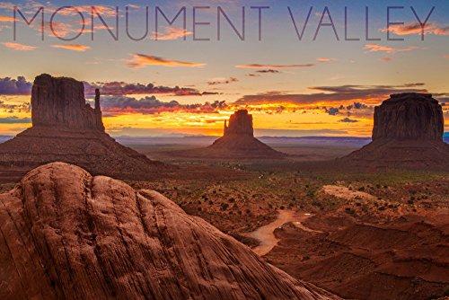 Monument Valley, Utah - Colorful Sky (9x12 Art Print, Wall Decor Travel Poster) - Valleys Framed Landscape Art