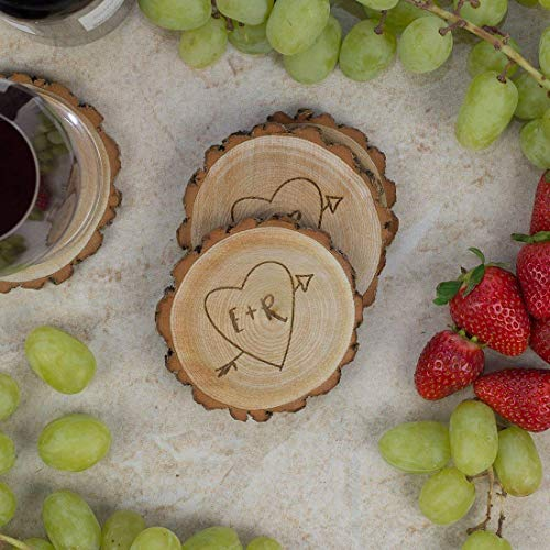 - Personalized Rustic Tree Slice Coaster Set - Engraved Wood - Initials in Heart with Arrow