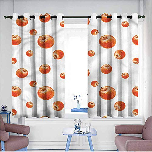 - SAMEK Custom Curtains,Apple Watercolor Cameo Fruits,Curtains for Living Room,W55x45L