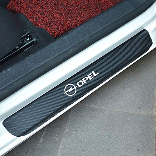 (Tuavit car Magnet Door Sill Plate Car Accessories Carbon Fiber Car Scuff Sticker for OPEL Astra Mokka Zafira Crossland X GRANDLAND X Karl Zafira)