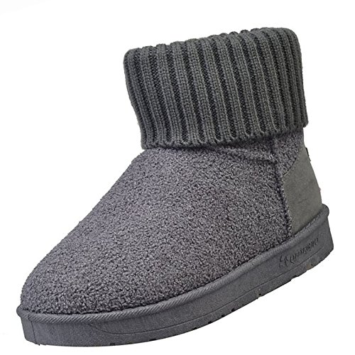 Women's Snow Calf Boots Low Boots Mid ZHZNVX Casual Winter Round Suede Null Heel HSXZ Black Gray Toe Burgundy Shoes Black for Boots 50w6Xq