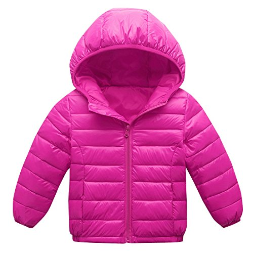 AIEOE Girls Down Coat Hooded Long Sleeve Zipper Up Winter Outwear Jacket 3-8T Rose
