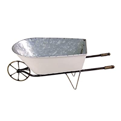 Small White Enamel Outdoor Wheelbarrow Planter Box, 16 1/2 Inches : Garden & Outdoor