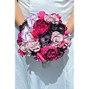 Beautiful Artificial Silk Peony and Lisianthus Bridal Bouquet with Anemones and Roses 7