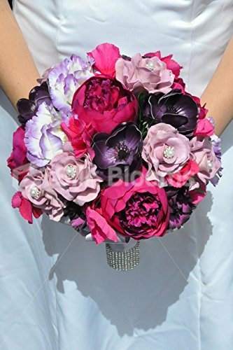 Beautiful-Artificial-Silk-Peony-and-Lisianthus-Bridal-Bouquet-with-Anemones-and-Roses