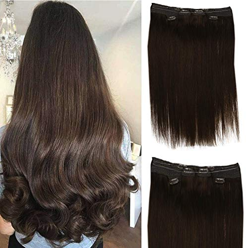 Full Shine Lace Clip Hair Extensions 2 Little Pieces 14 Inch 1 Halo Hair Extensions Human Hair Clip Ins Hair Extensions 14 Inch Short Hair Totally 3Pcs 100g Thick Ends Doulbe Wefted Hair