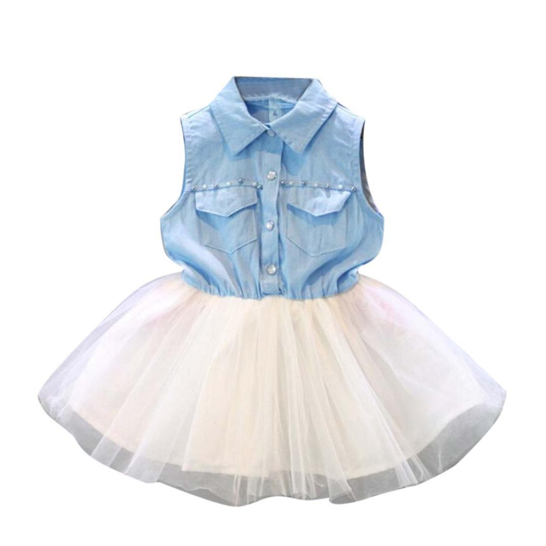 Fabal Fashion Girls Kids Princess Flower Denim Tulle dress Sleeve Summer Dress