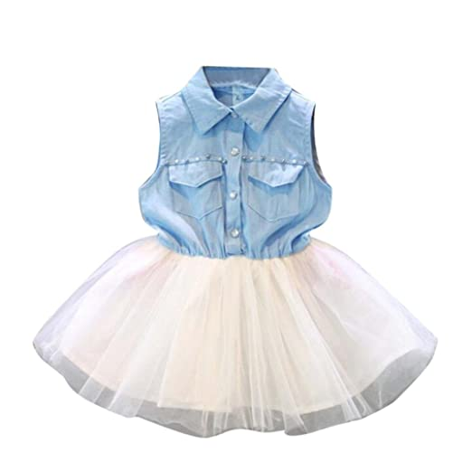 288d374e711 Fabal Fashion Girls Kids Princess Flower Denim Tulle dress Sleeve Summer  Dress (2 3T