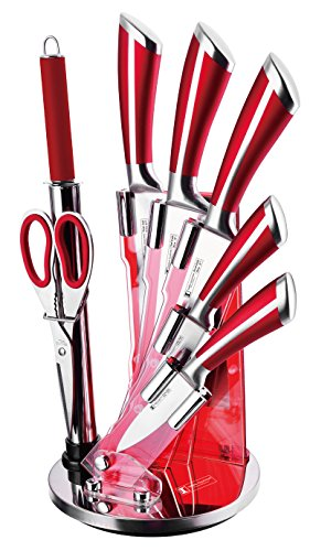 Imperial Collection 8 Piece Knife Set With Knife Block - Extremely Sharp Non Stick Coding Knives With A Great Grip, Red Wine