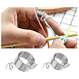 GOOTRADES 2 Size Metal Yarn Guide Knitting Thimble for Knitting Crafts Accessories Tool