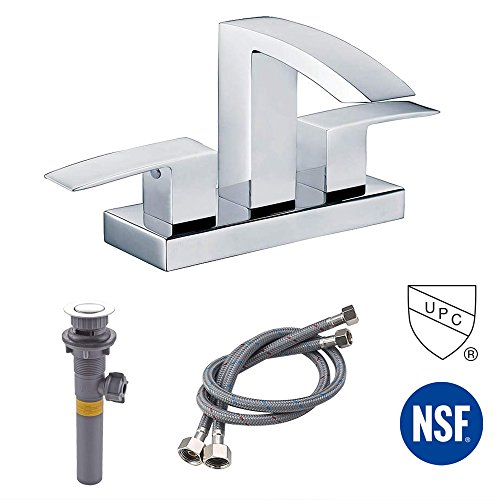 KES cUPC NSF Certified BRASS Two Handle Bathroom Waterfall Faucet with Drain Assembly Lavatory Vanity Sink Faucet 4-Inch Centerset, Polished Chrome, L4101LF-CH - Polished Chrome Stainless Steel Basin