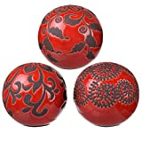 A&B Home 1159 Marbleized Ball Accents, Red Decorative, Set of 3, 4 by 4-Inch
