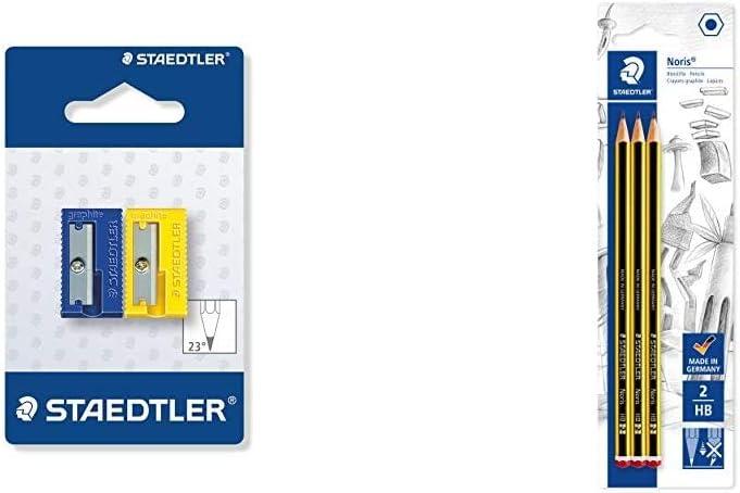 STAEDTLER 510 50 BK2 - Afilalápices de plástico. Pack con 2 sacapuntas de + Noris 120-2BK3DA. Lápices de Madera Certificada. Pack con Tres Lapiceros de Grafito HB