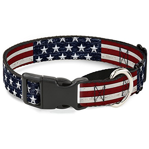 Stripe Martingale Dog Collar - Buckle Down Americana Rustic Stars & Stripes Martingale Dog Collar, 1