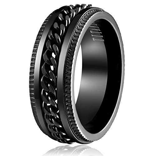 Areke 8mm Stainless Steel Black Rings for Men Chain Biker Grooved Edge Band Size 7 - 13 Ring Size Size 11