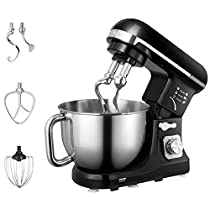Stand Mixer, Aicok 5 Quart 500W 6 Speed Dough Mixer with Stainless Steel Bowl, Tilt-Head Food Mixer, Kitchen Electric Mixer with Double Dough Hooks, Whisk, Beater, Pouring Shield, Black