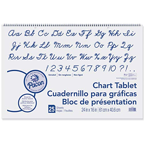 - Pacon PAC74520BN Chart Tablet, Cursive Cover, Unruled, 24